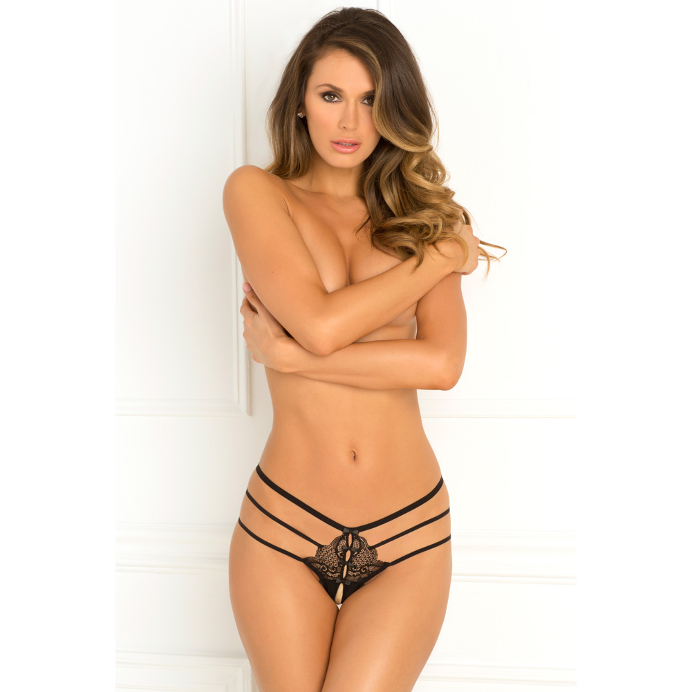 Rene Rofe Wanted and Wild Crotchless Panty Small/Medium Black - View #3