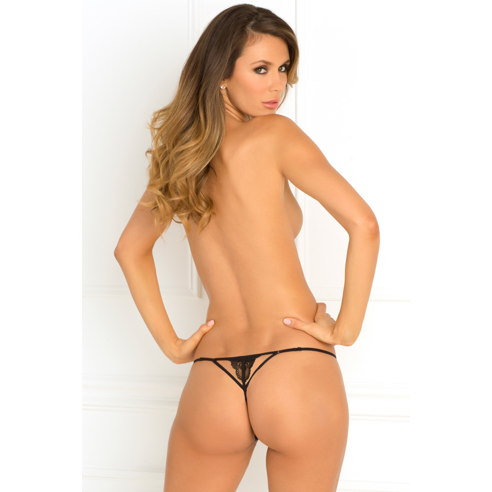 Rene Rofe Get Your Back Crotchless Thong Medium/ Large Black - View #4