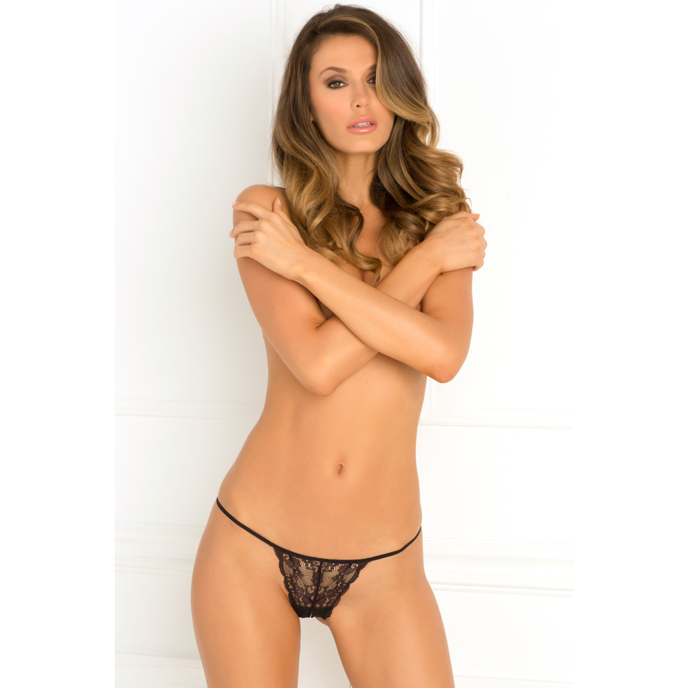 Rene Rofe Get Your Back Crotchless Thong Small/Medium Black - View #3