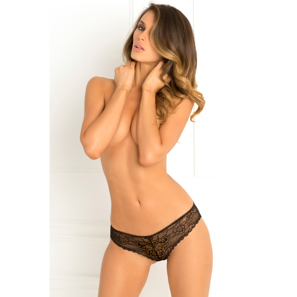 Rene Rofe Forbidden Lust Crotchless Thong Medium/ Large Black - View #4
