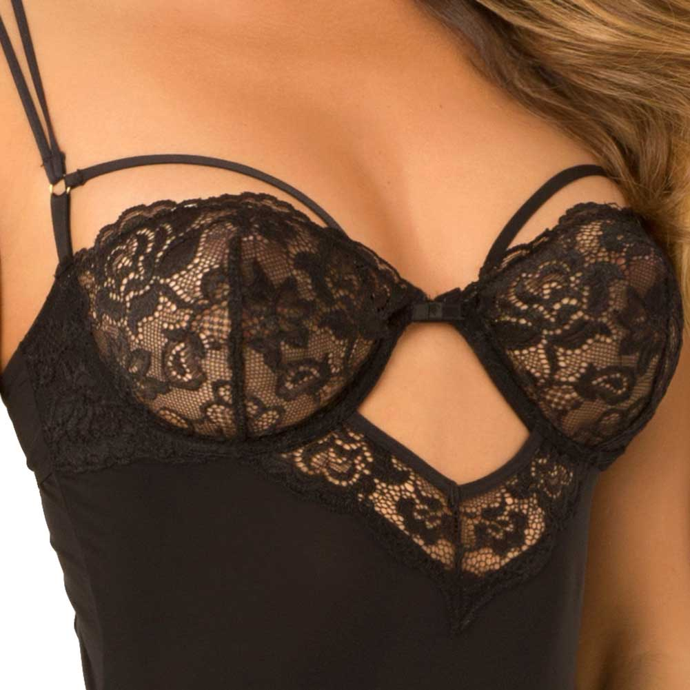 Rene Rofe Rough Romance Gartered Chemise and G-String Set Medium/ Large Black - View #3