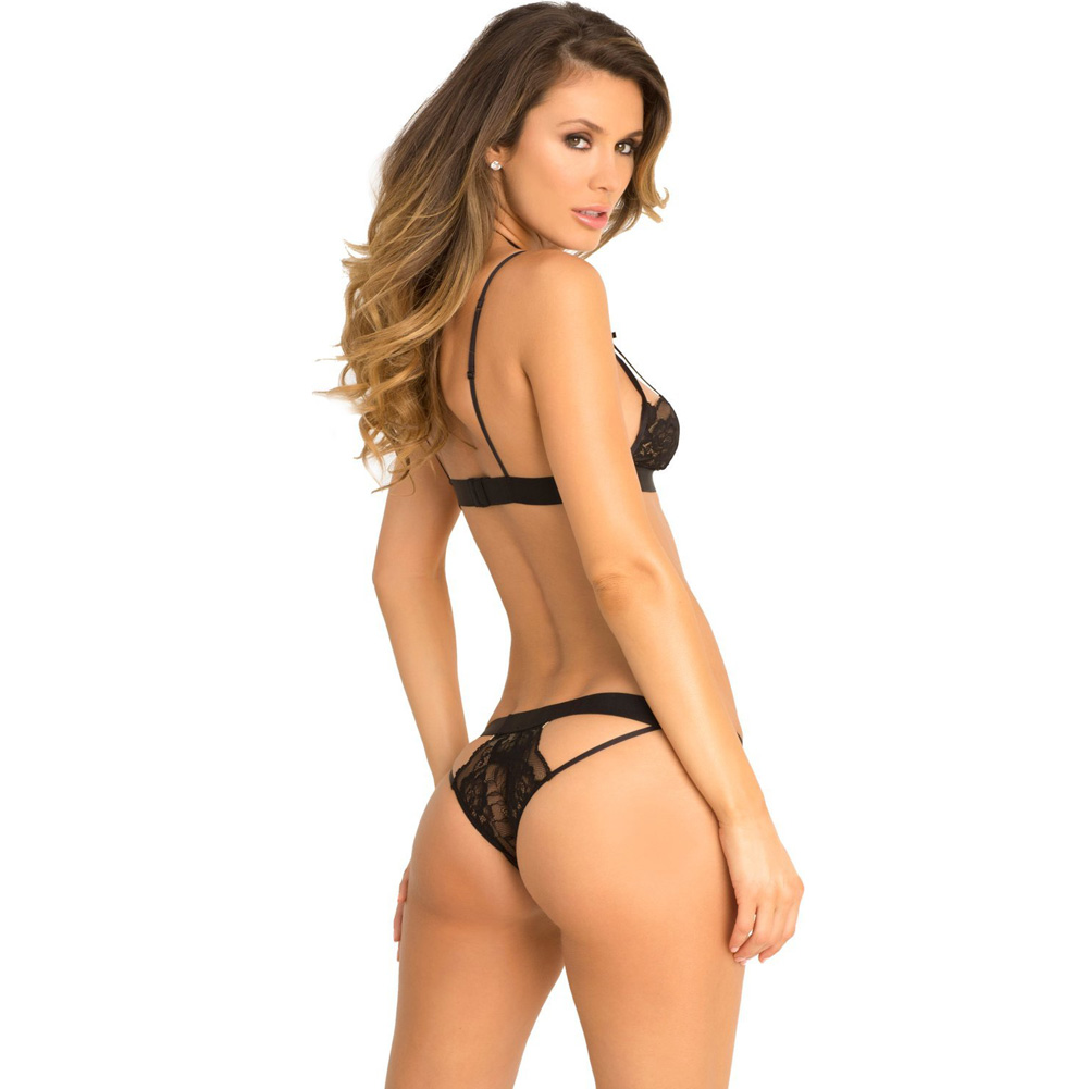 Rene Rofe Hot Harness Lace Bra and Panty Set Medium/ Large Black - View #2