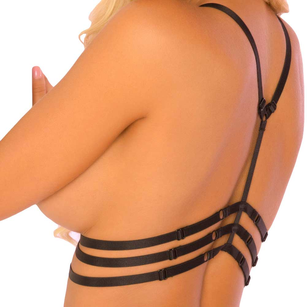 Rene Rofe Pink Lipstick Triple Cage Harness and G-String One Size Fits Most Black - View #4