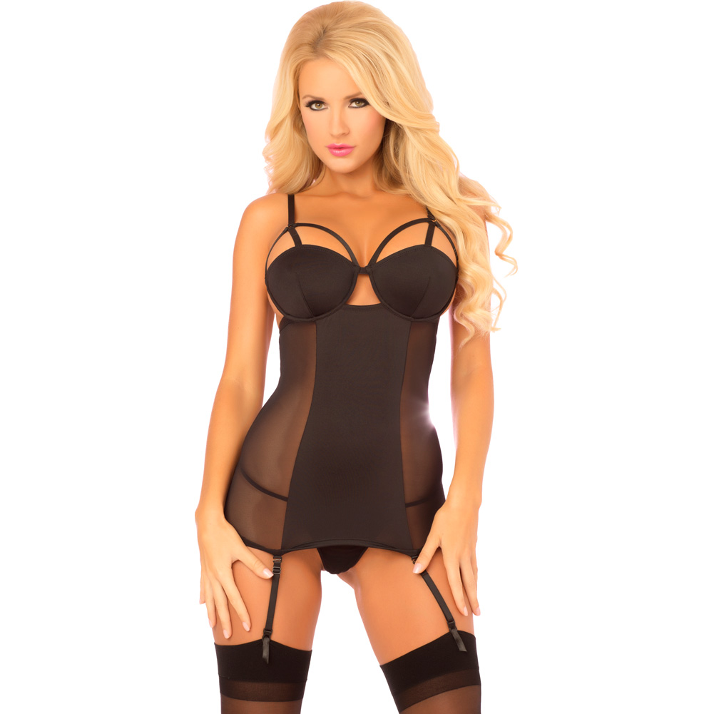Rene Rofe Pink Lipstick High Exposure Chemise and G-String Medium/ Large Black - View #1