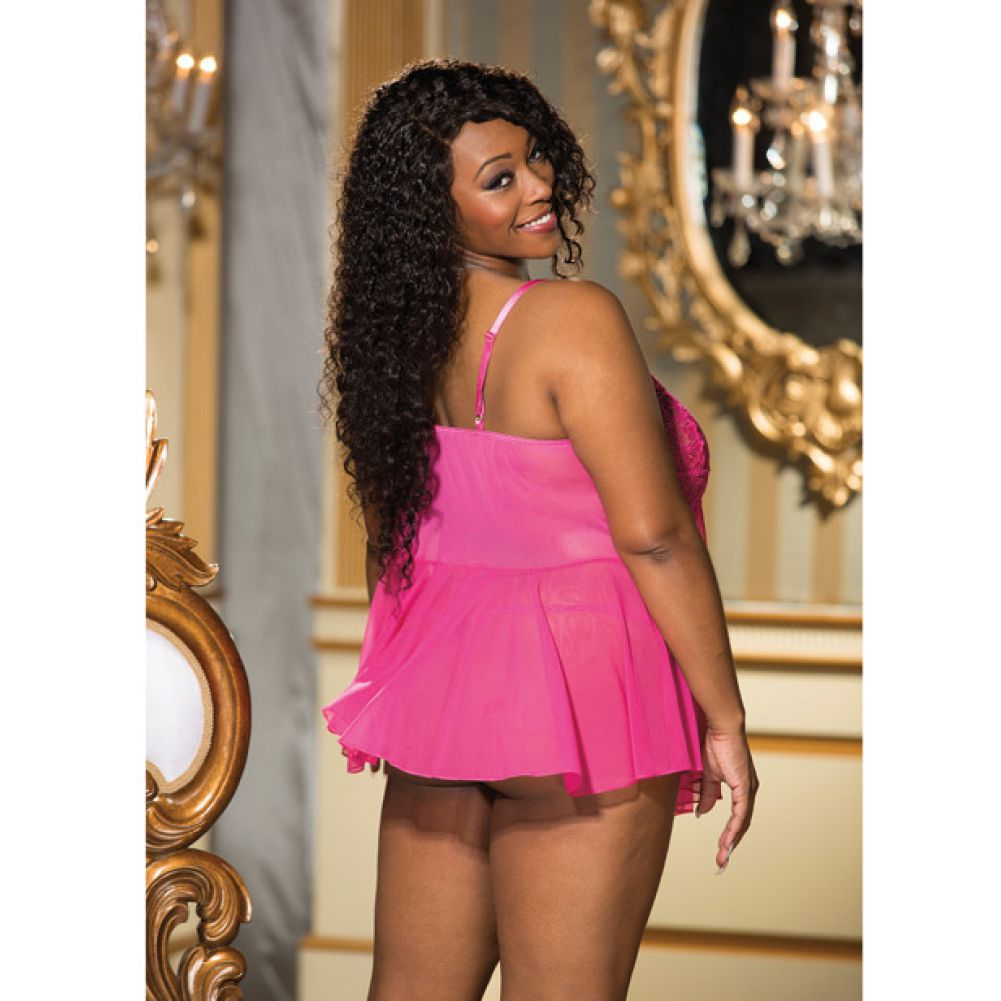 Shirley of Hollywood Lace and Net Flyaway Babydoll 3X Plus Fuchsia/ Hot Pink - View #4