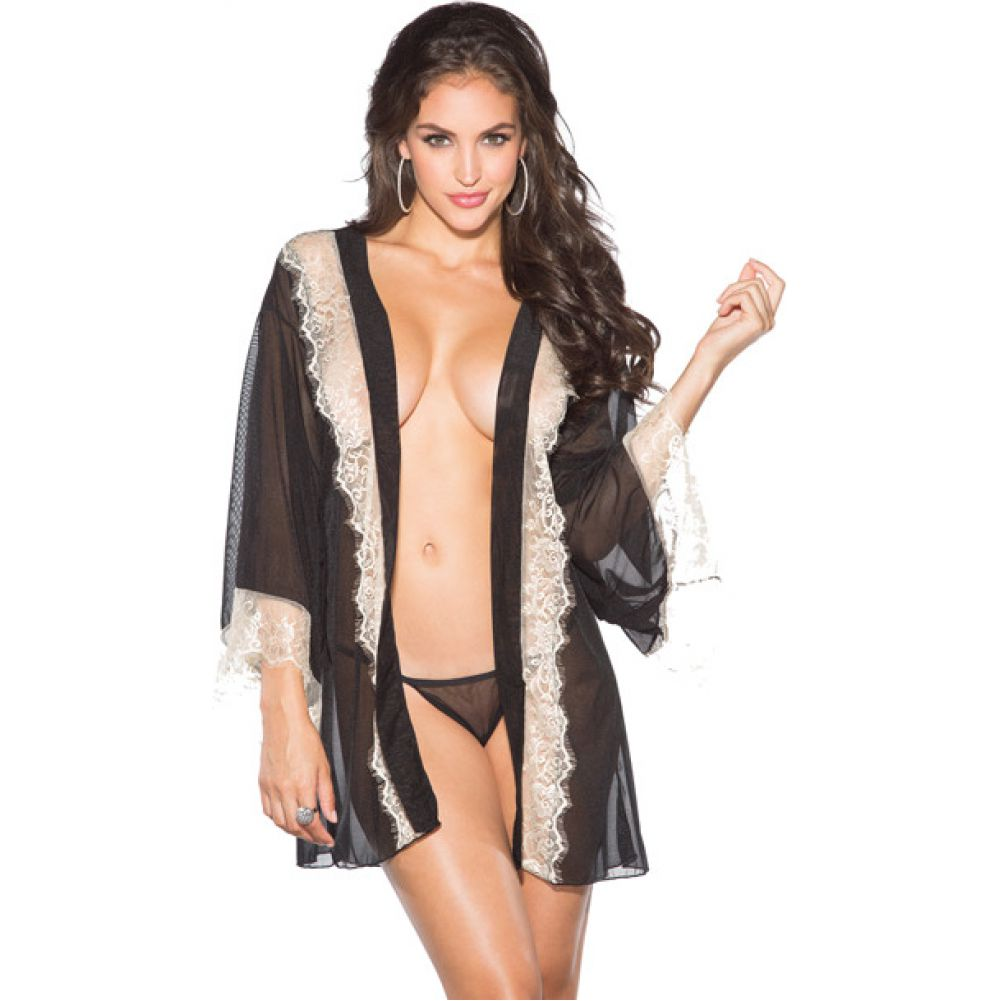 Shirley of Hollywood Mesh and Lace Robe with G-String XL Black/ Ivory - View #1