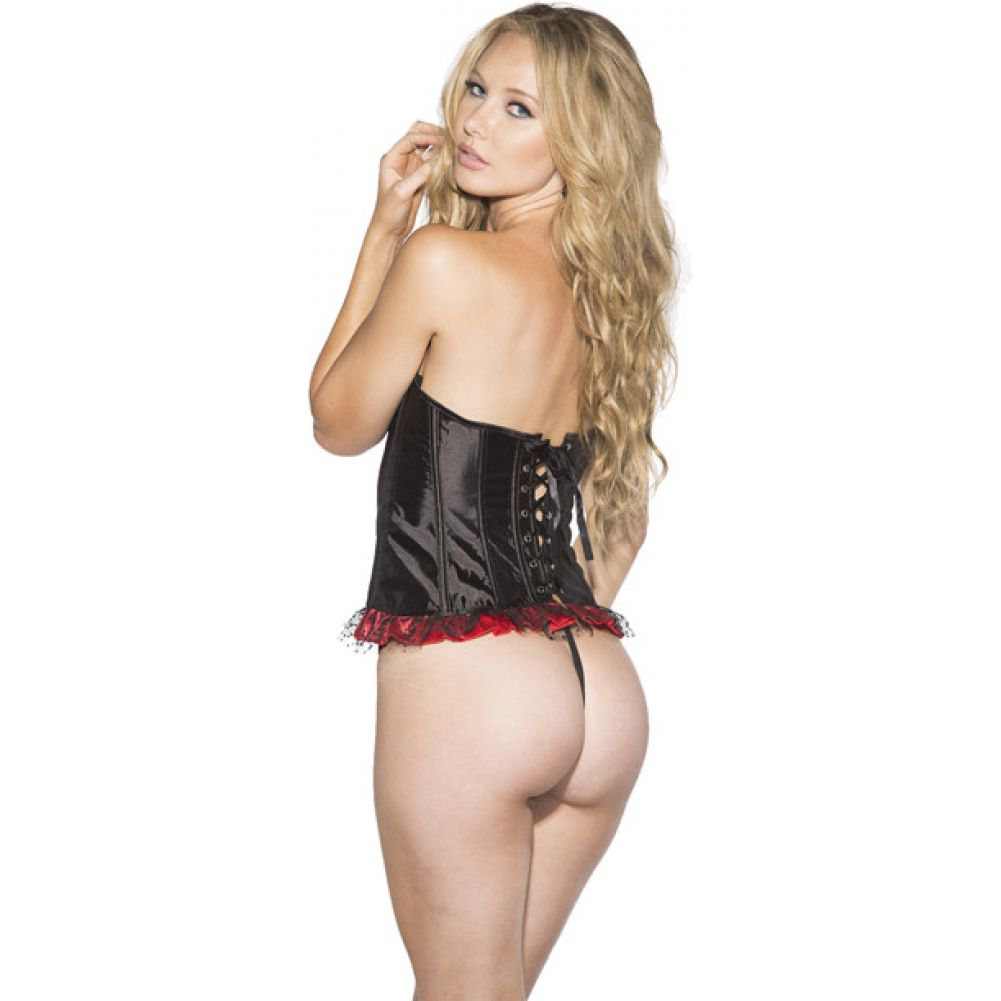 Shirley of Hollywood Polka Dot and Striped Corset with G-String Medium Red/ Black - View #2