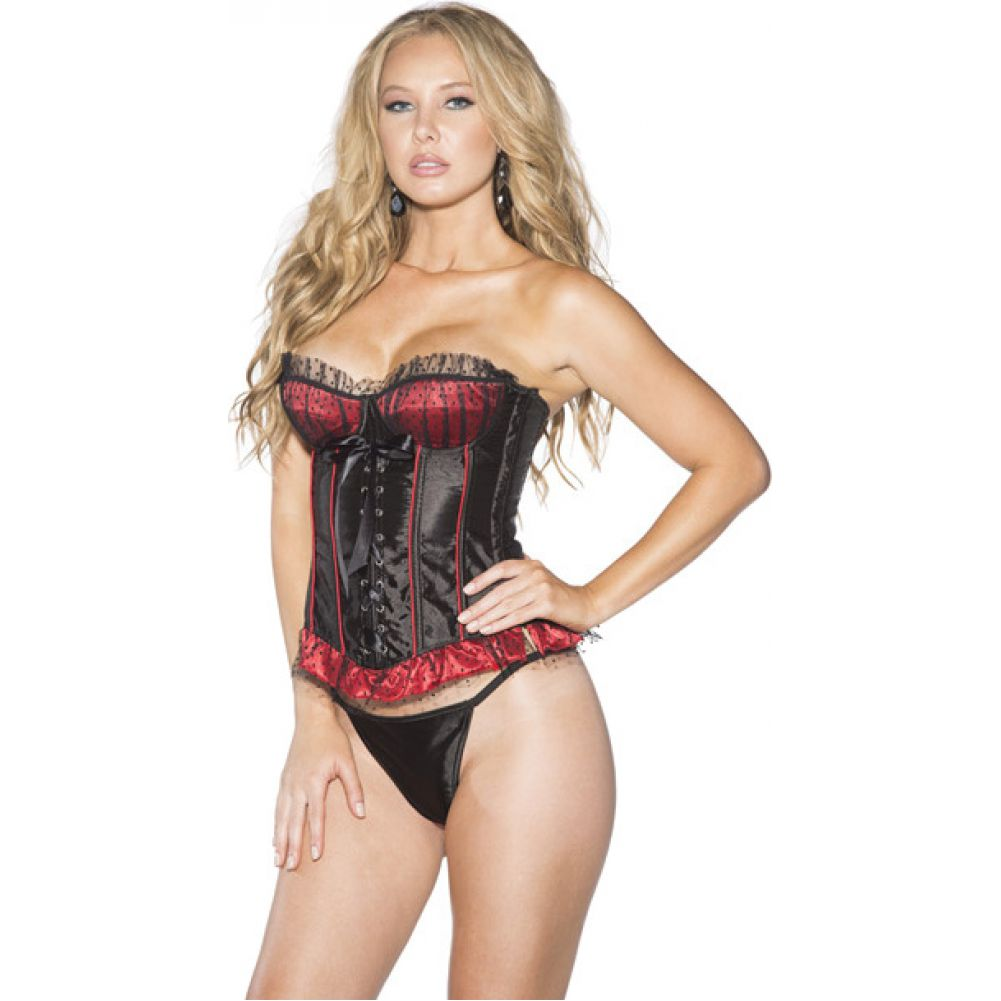 Shirley of Hollywood Polka Dot and Striped Corset with G-String Large Red/ Black - View #1