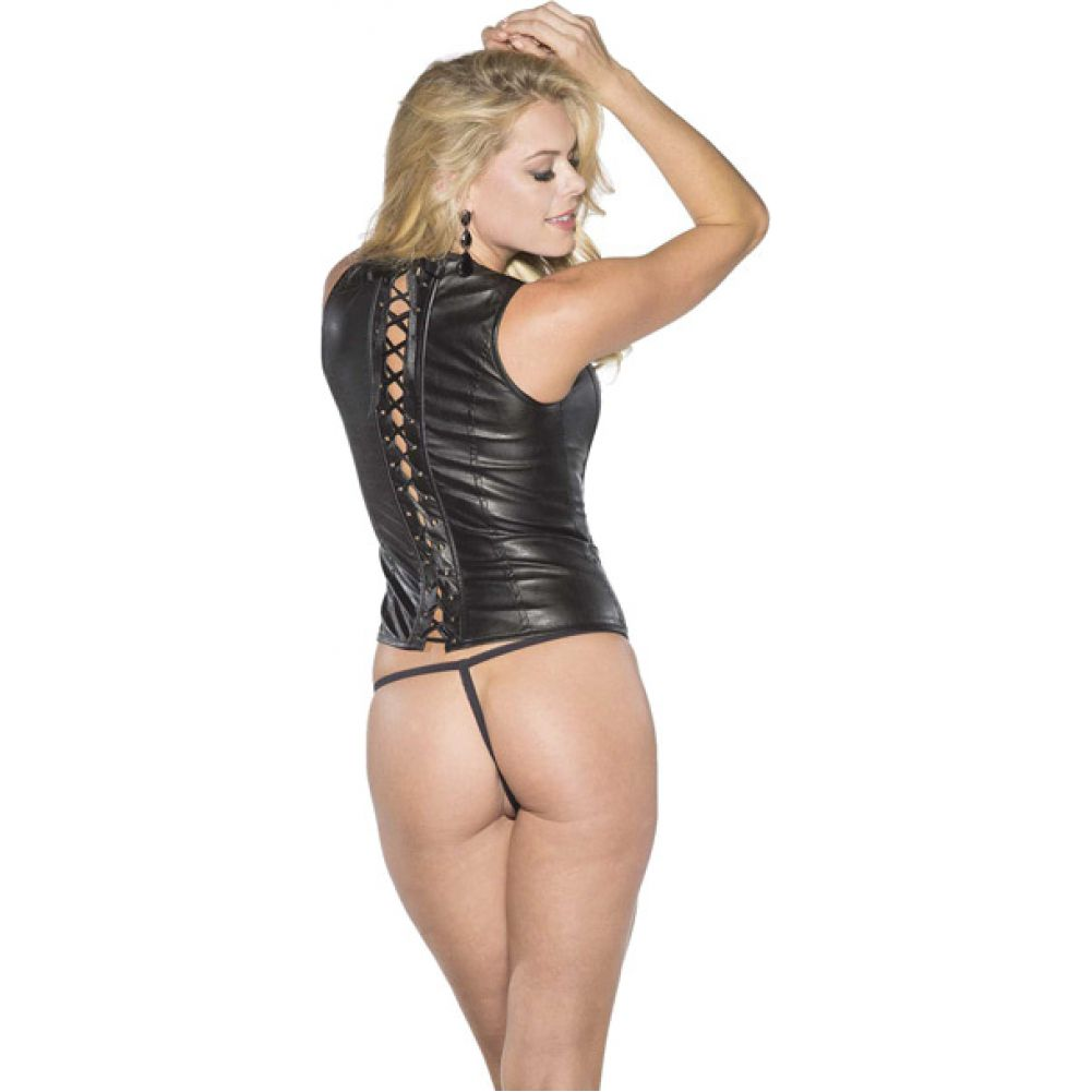 Shirley of Hollywood Faux Leather Corset with Lace Up Back Large Black - View #2