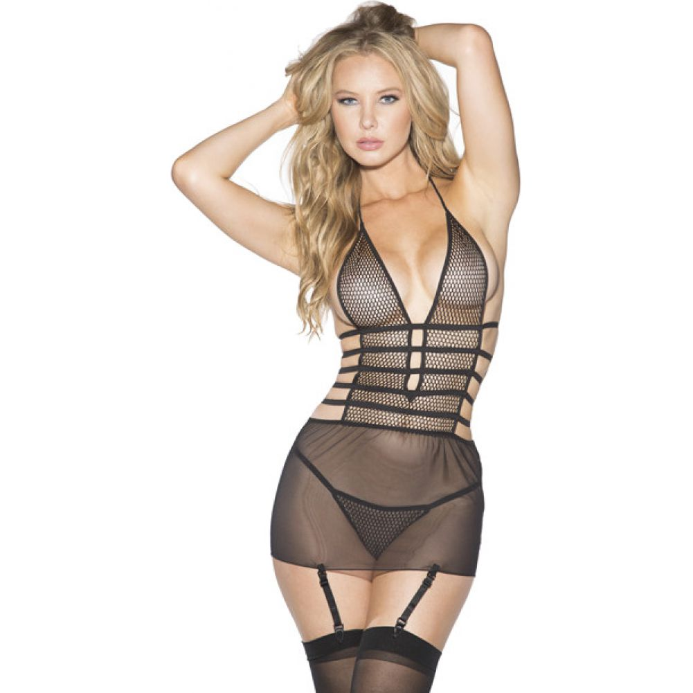 Shirley of Hollywood Mesh and Net Gartered Babydoll with Hose and G-String Large Black - View #1