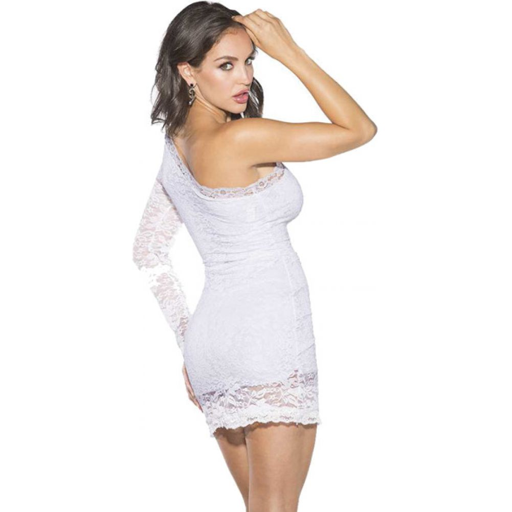Shirley of Hollywood One Shoulder Lace Dress Small White - View #2