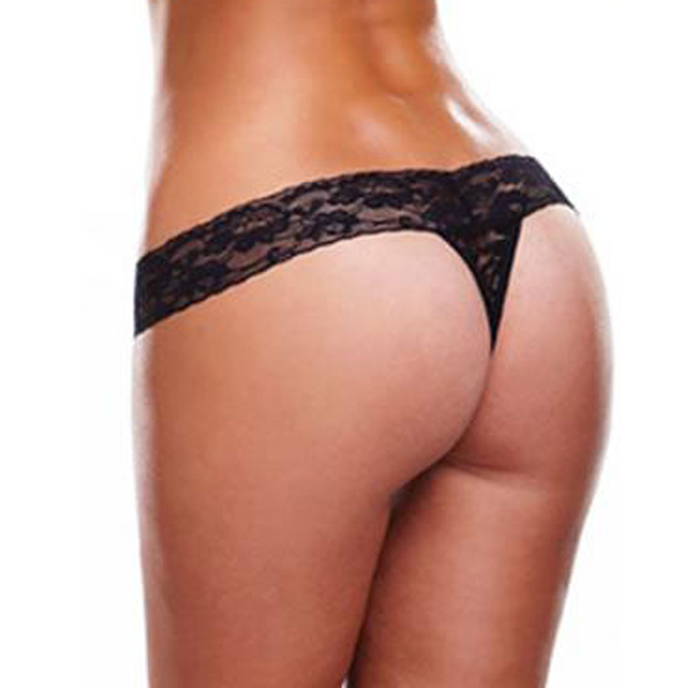 Lapdance Lingerie Secrets Vibrating Lace Thong with Remote One Size Fits Most Black - View #3