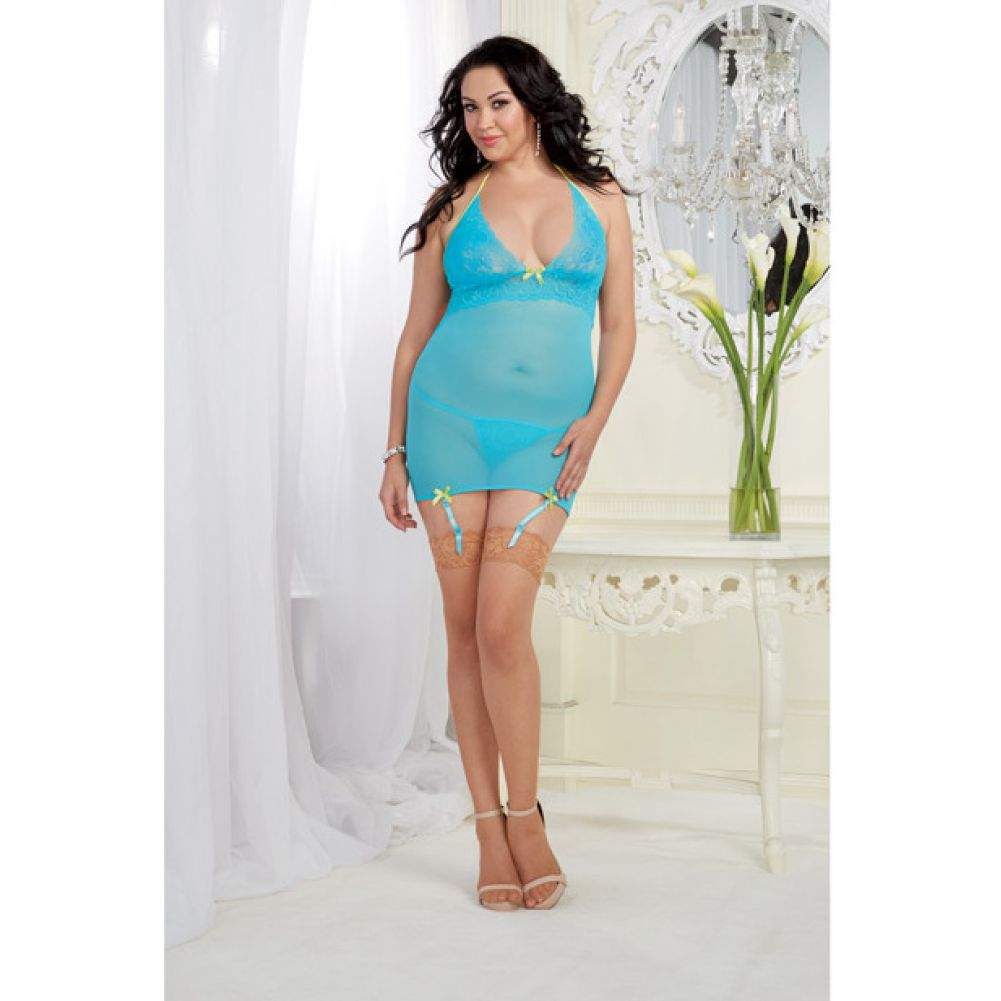 Stretch Mesh Garter Slip with Back Ribbon Lace Up and Thong Queen Size Turquoise - View #3