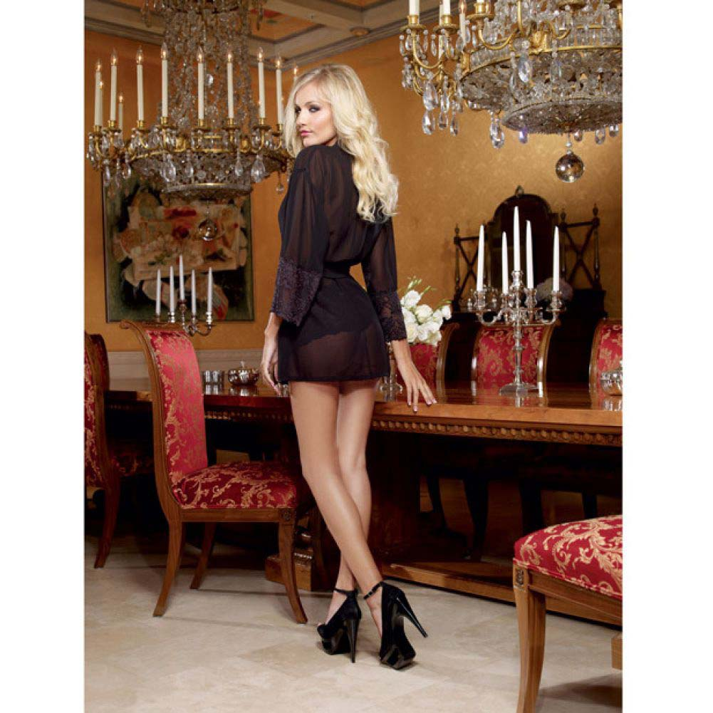 Dreamgirl Chiffon Stretch Lace Short Length Kimono Robe and Cheeky Panty Large Black - View #4