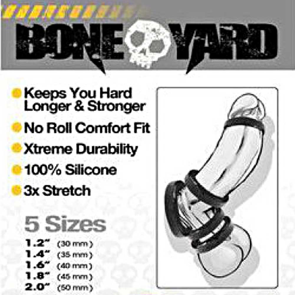 Rascal Bone Yard Silicone Cockrings Black Full Range 5 Piece Kit - View #1