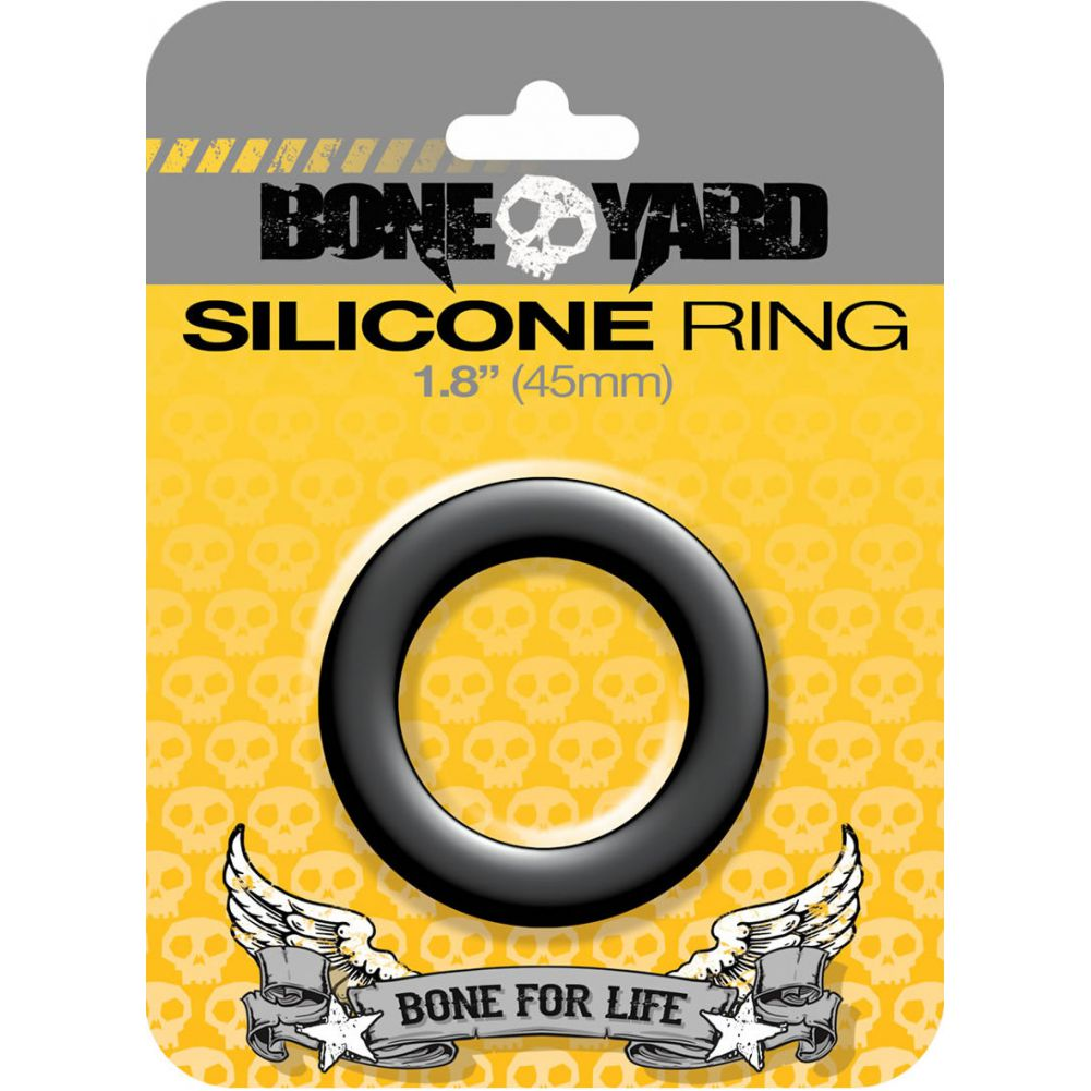 "Rascal Bone Yard Silicone Cockring Black 1.8"" Diameter - View #1"