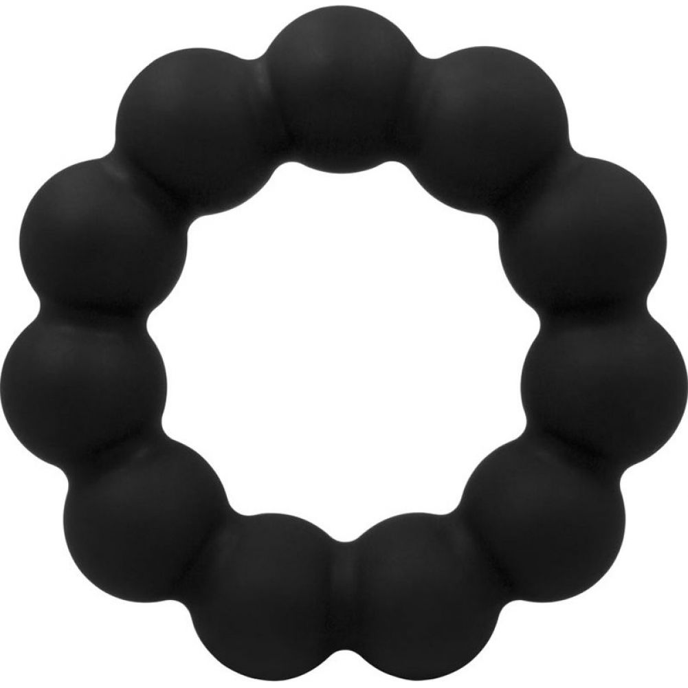 "Rascal Baller Silicone Beaded Cock Ring Black 3"" Diameter - View #2"