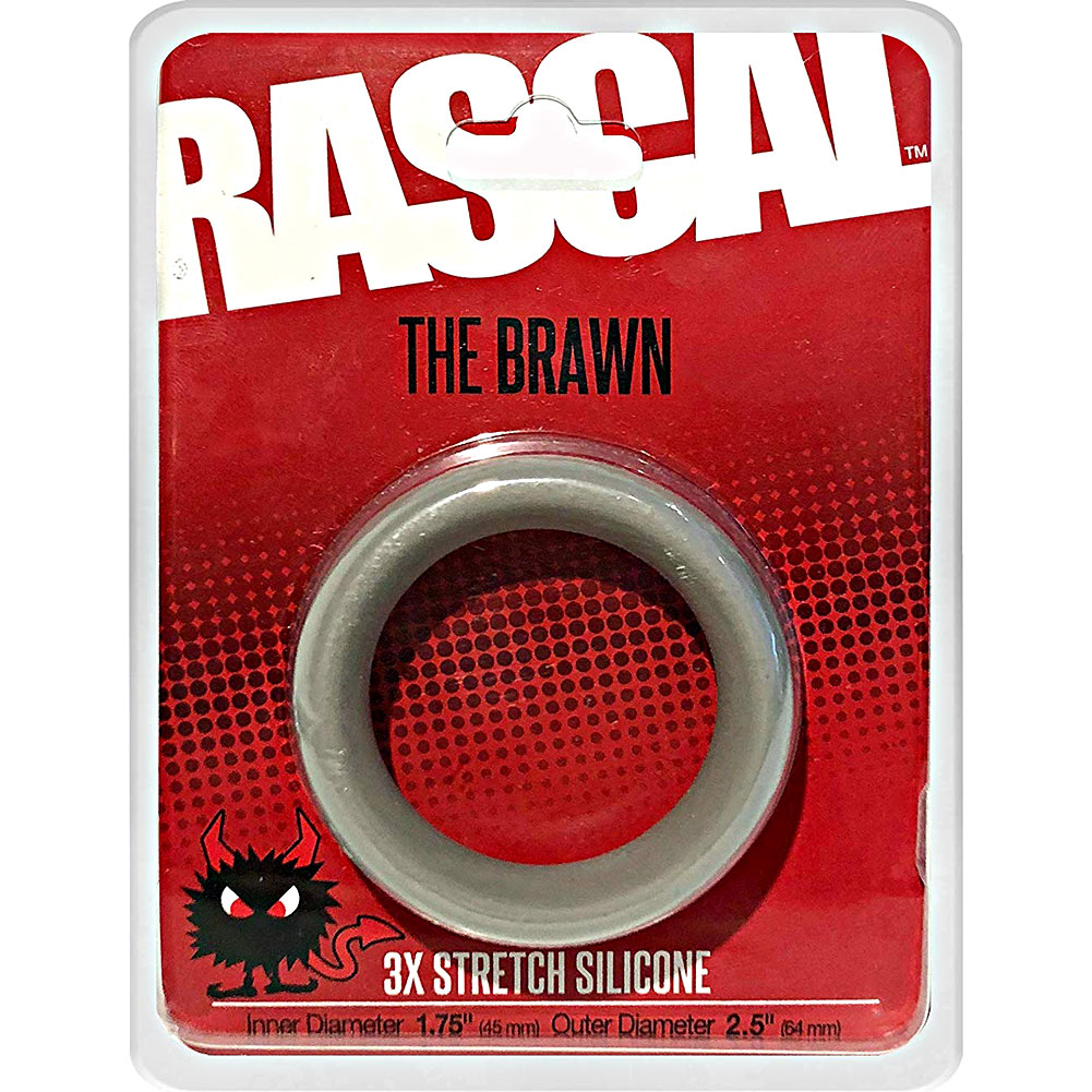 "Rascal Brawn Silicone Cock Ring Grey 2.5"" Diameter - View #1"