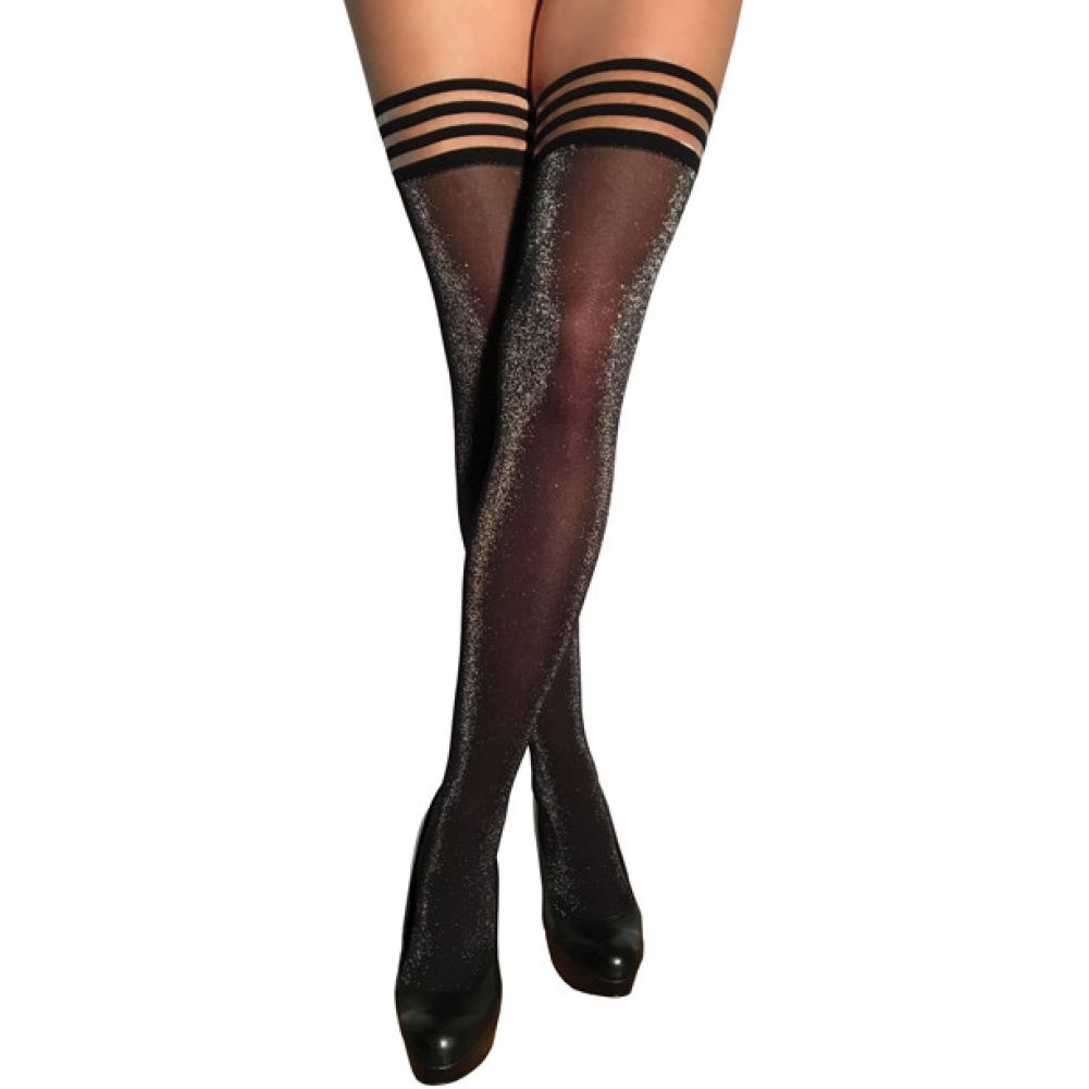 KixIes Kaylee Grey Shimmer Thigh High Grey A - View #1