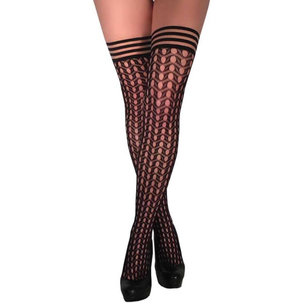 KixIes Mimi Dot Fishnet Polka Dot Thigh High Black A - View #1
