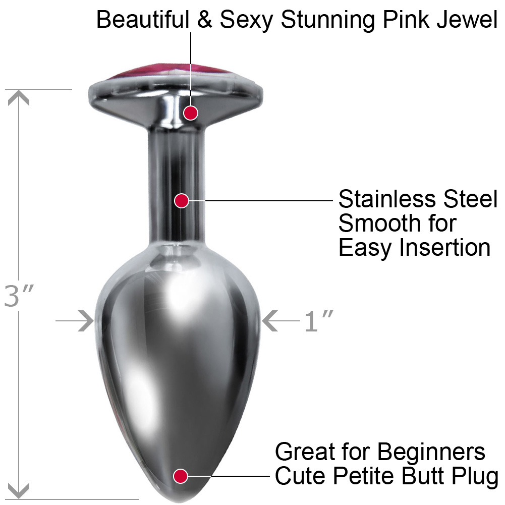 "Icon Brands Silver Starter Bejewled Stainless Plug W/Pink Jewel 3"" - View #1"