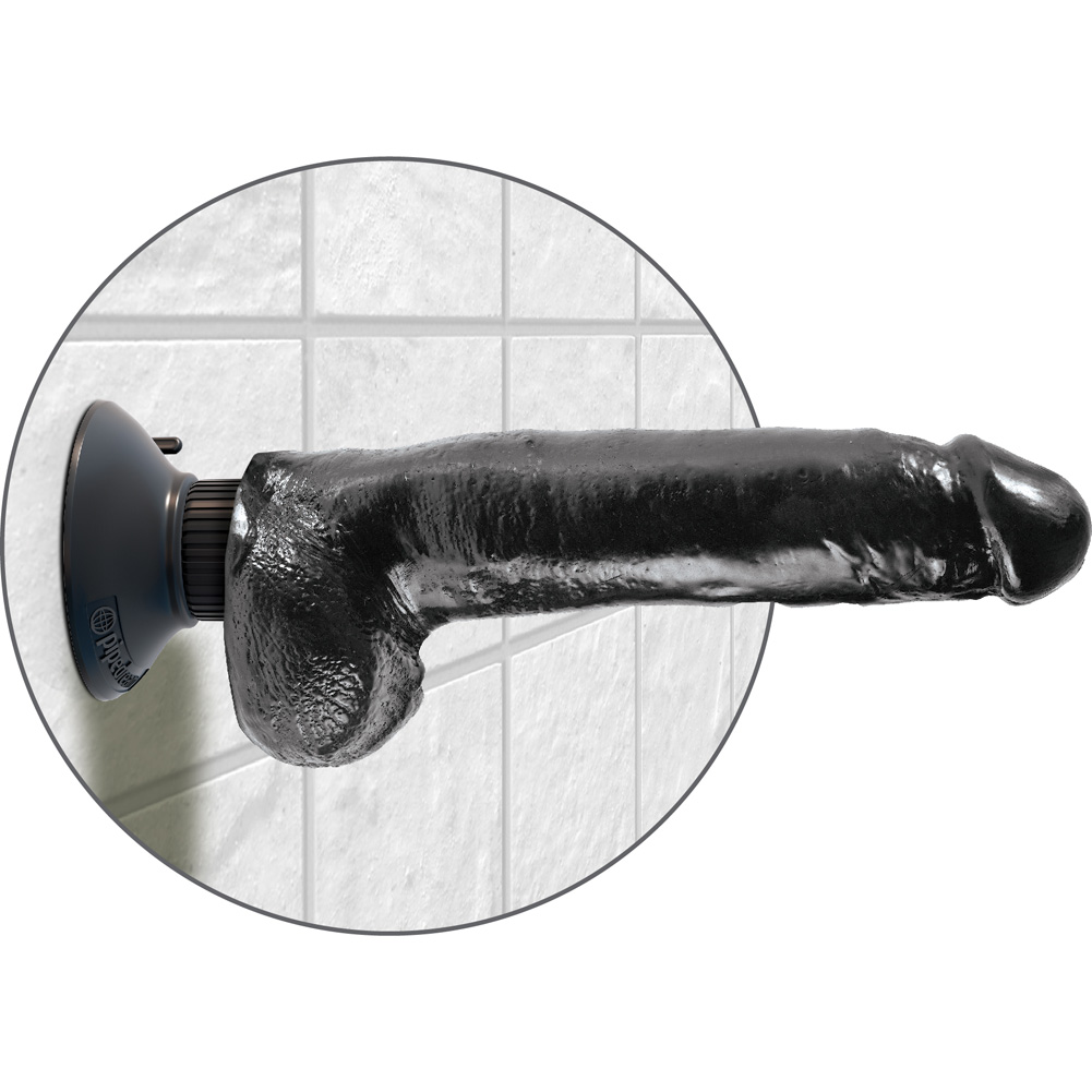 "King Cock 9"" Cock with Balls Black Vibrating - View #4"