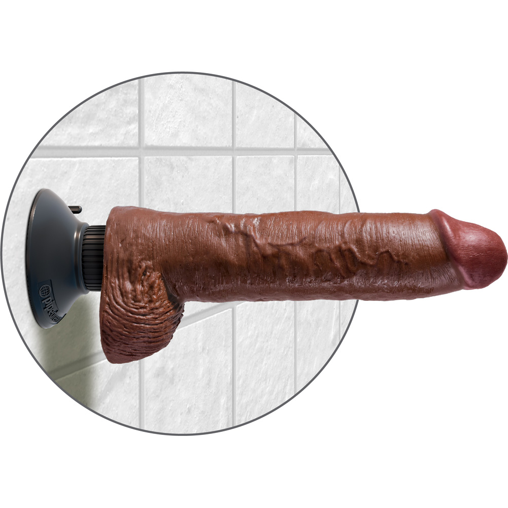 "King Cock 10"" Vibrating Cock with Suction Mount and Balls Brown - View #4"