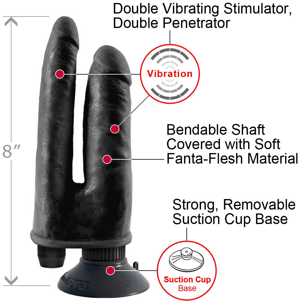 King Cock Double Penetrator Black Double Vibrating - View #1
