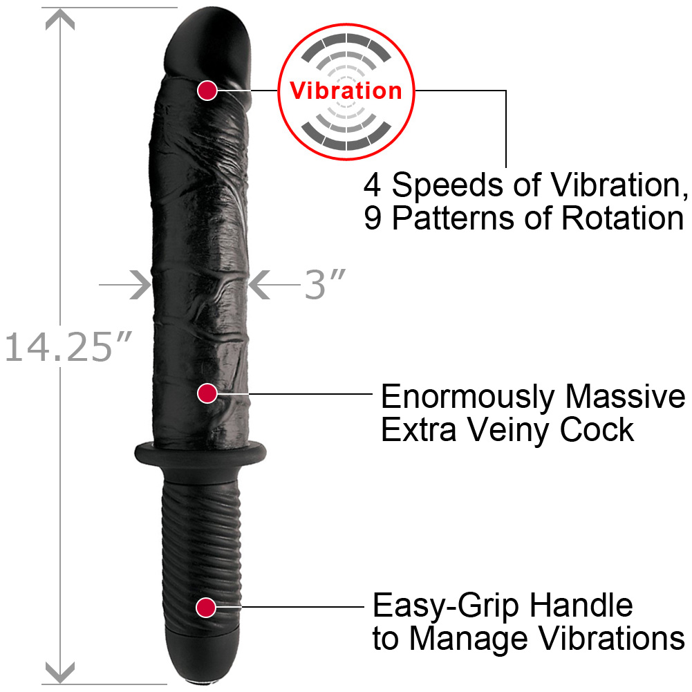 "XR Brands Master Series Violator 13 Mode XL Dildo Thruster 14.25"" Black - View #1"