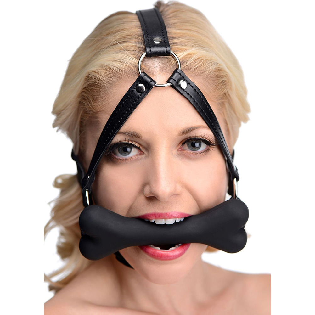 XR Brands Kanine Kollection Hound Bone Gag Head Harness Black - View #3