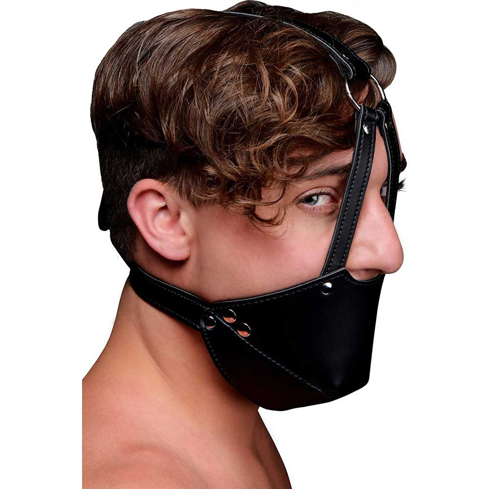 XR Brands Strict Mouth Harness with Ball Gag Black - View #3
