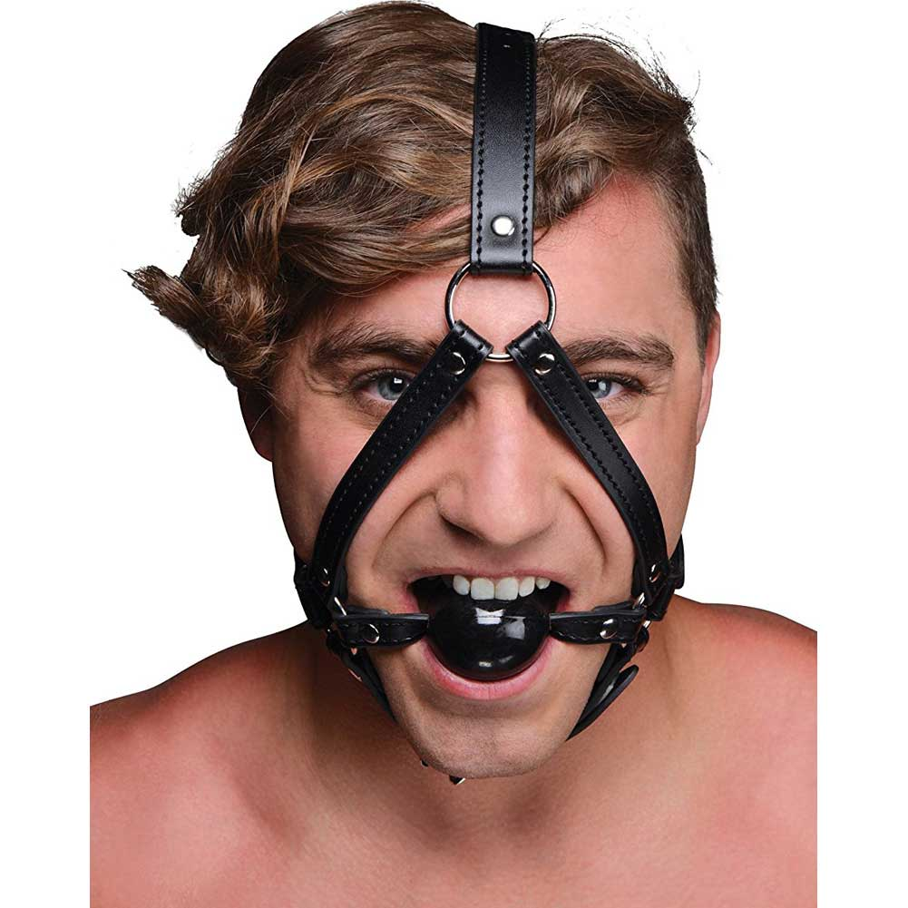 Strict Head Harness with Ball Gag - View #2