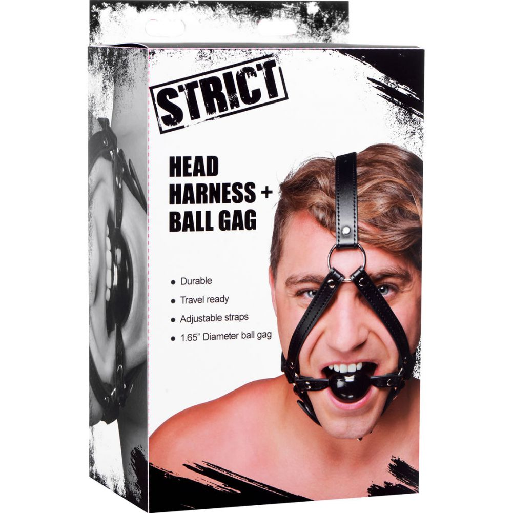 Strict Head Harness with Ball Gag - View #4