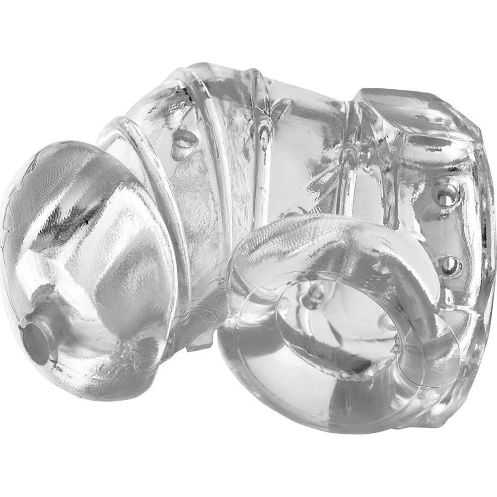 XR Brands Master Series Detained 2.0 Restrictive Chastity Cage with Nubs Crystal Clear - View #2