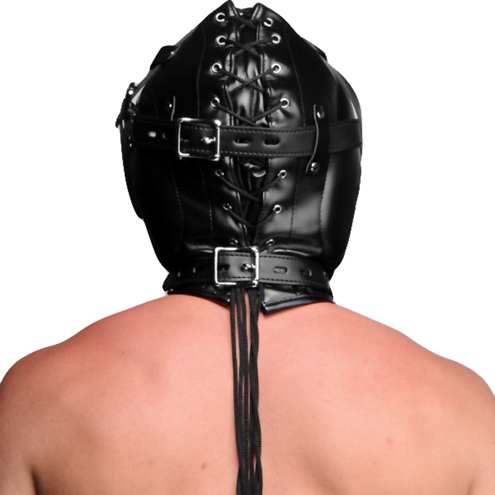 XR Brands Strict Sensory Deprivation Hood with Open Mouth Gag Black - View #3
