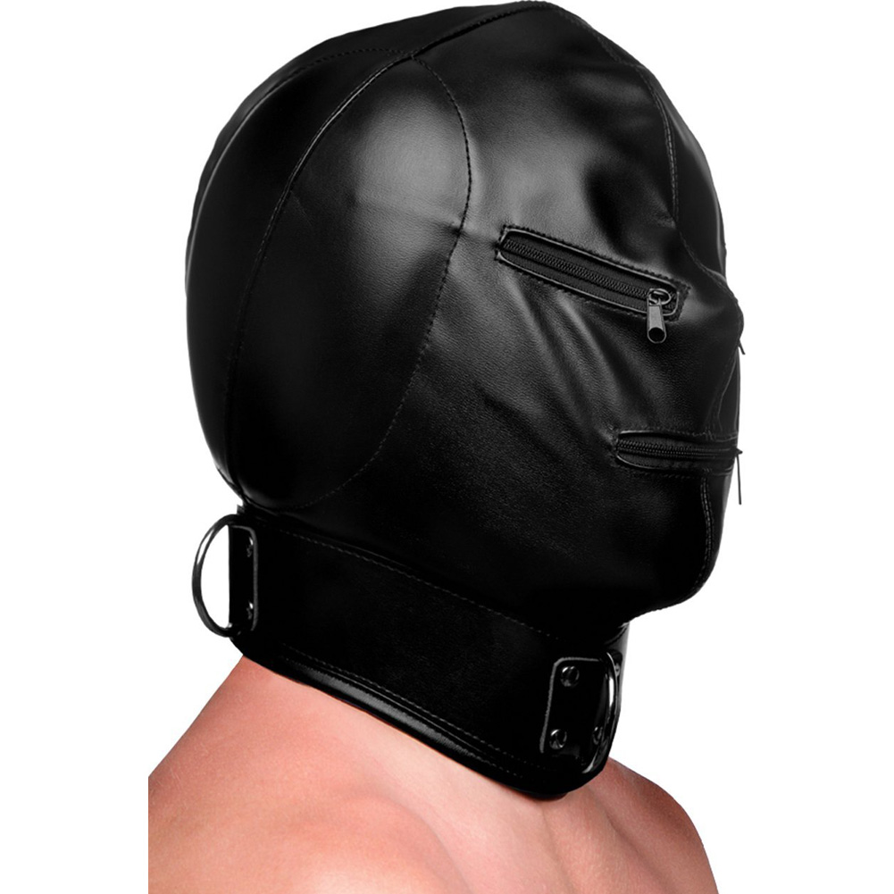 XR Brands Strict Bondage Hood with Posture Collar and Zippers Black - View #3