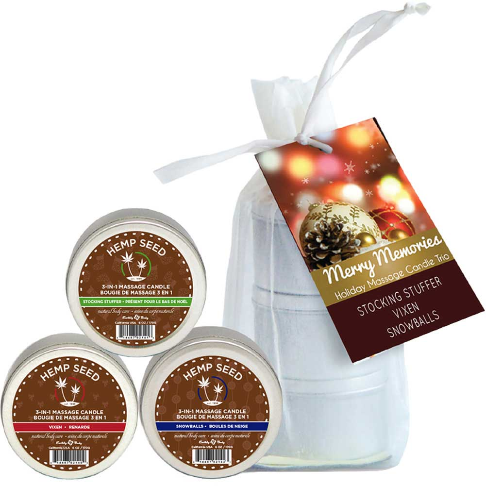 Earthly Body Merry Memories Holiday Massage Candle Trio Bag of 3 - View #1
