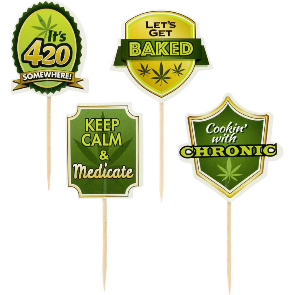 Little Genie Party Picks Cannabis Toothpick Toppers 24 Count - View #2