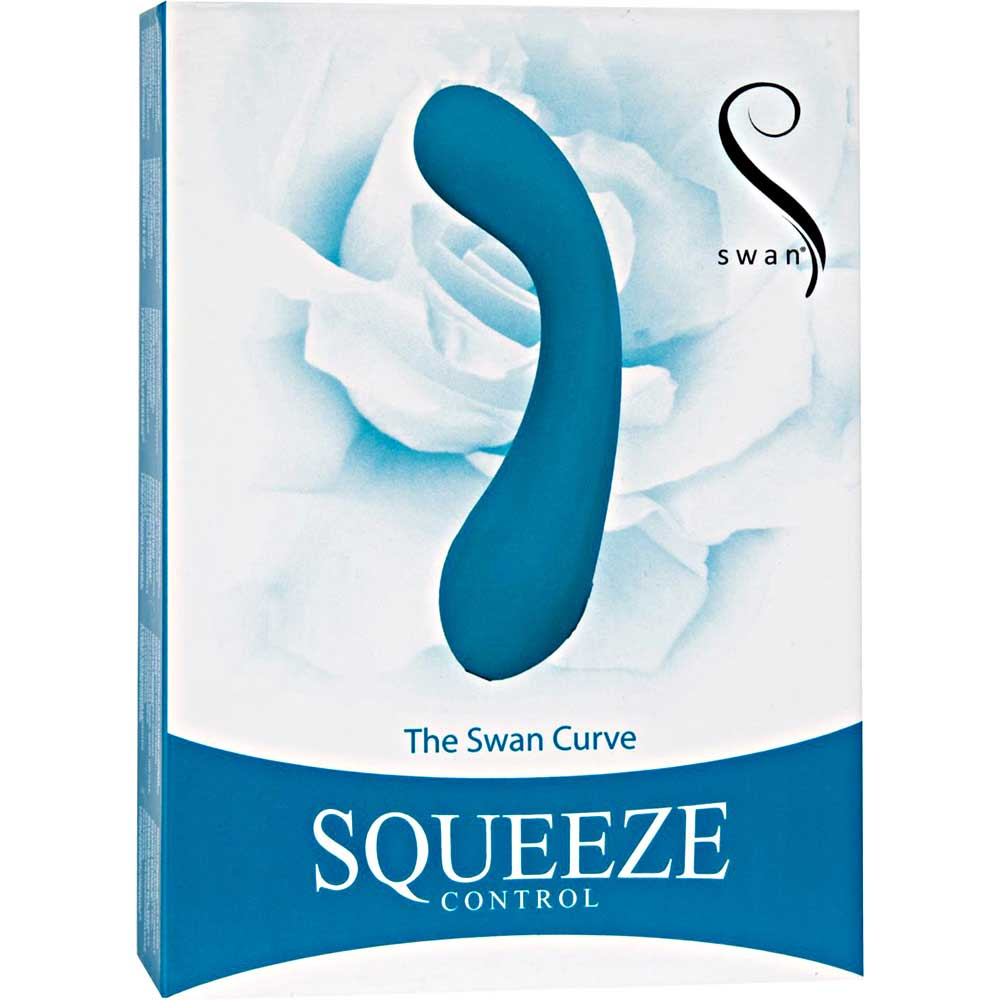 Swan the Swan Curve Squeeze Control Silicone Rechargeable Vibe Waterproof Teal - View #4
