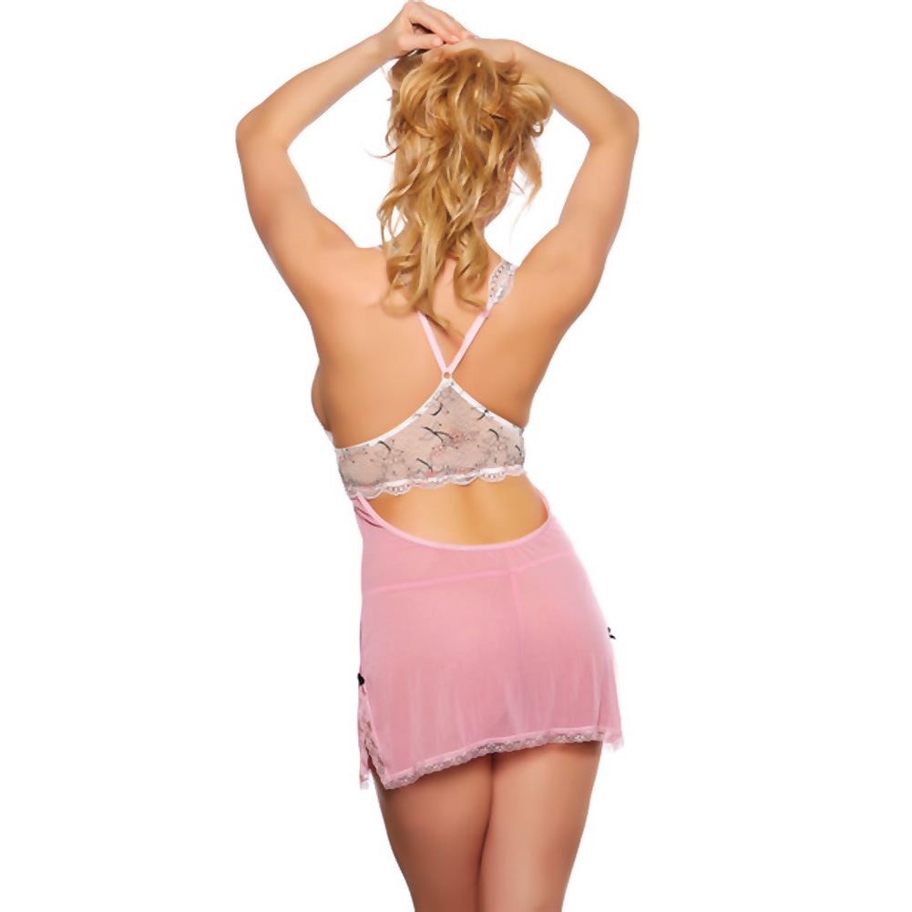 Popsi Lingerie Sheer Babydoll with Lace Top and Thong Medium Pink - View #2