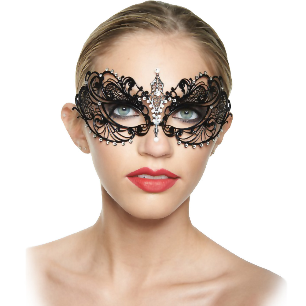 Kayso Classic Venetian Masquerade Mask Black/ Crystal Clear - View #1