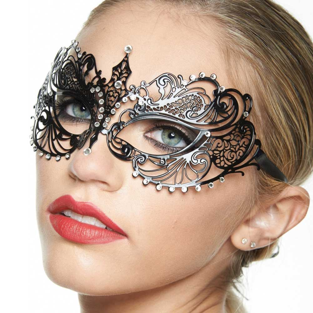 Kayso Classic Venetian Masquerade Mask Black/ Crystal Clear - View #3