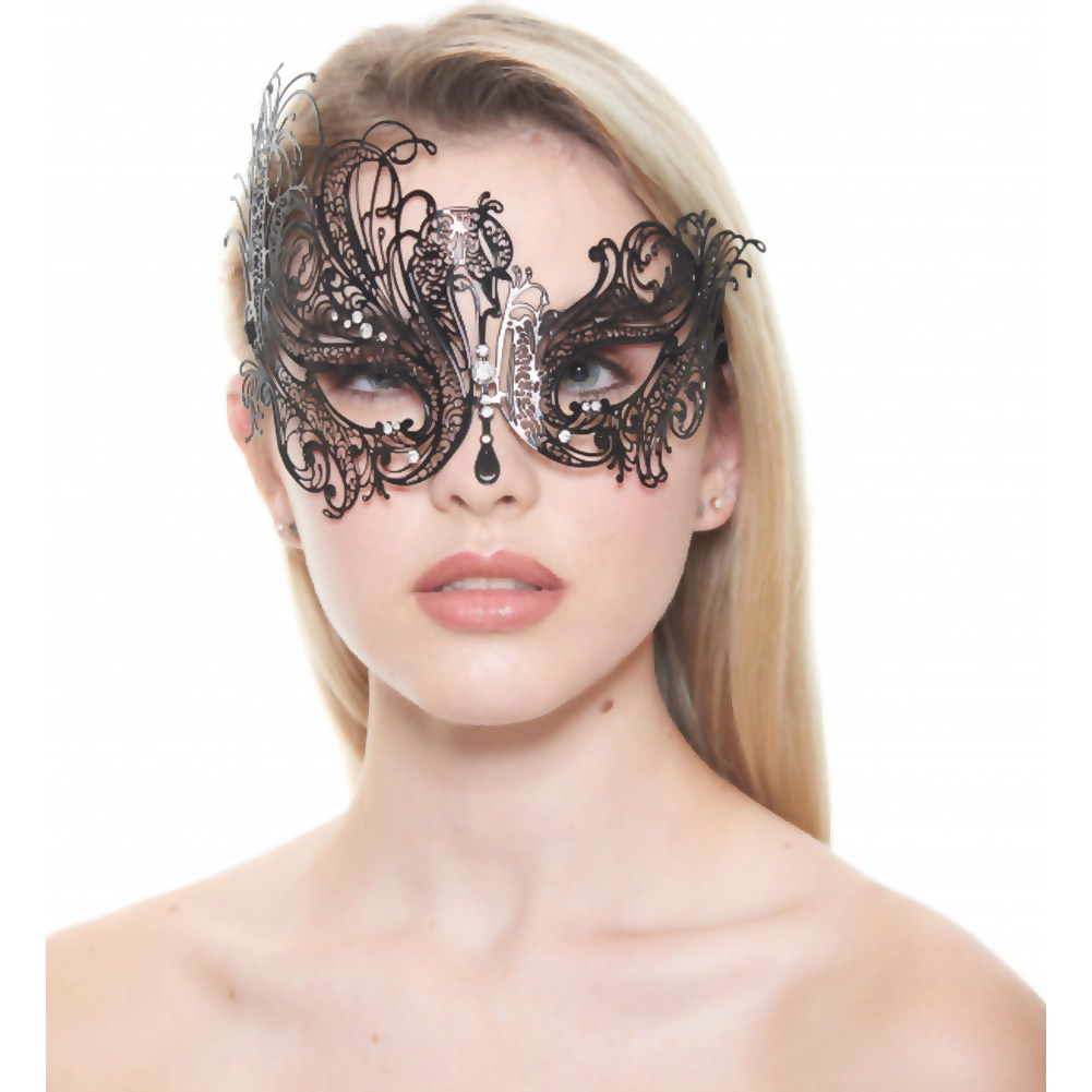 Kayso Classic Venetian Masquerade Mask No. 1 Black/ Crystal Clear - View #1