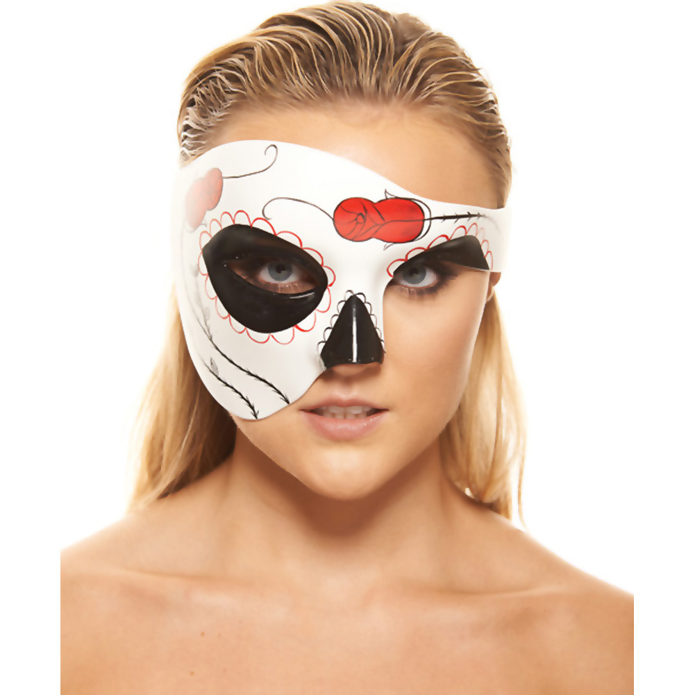 Kayso Day of the Dead Rose Bud Half Mask White/ Red - View #1