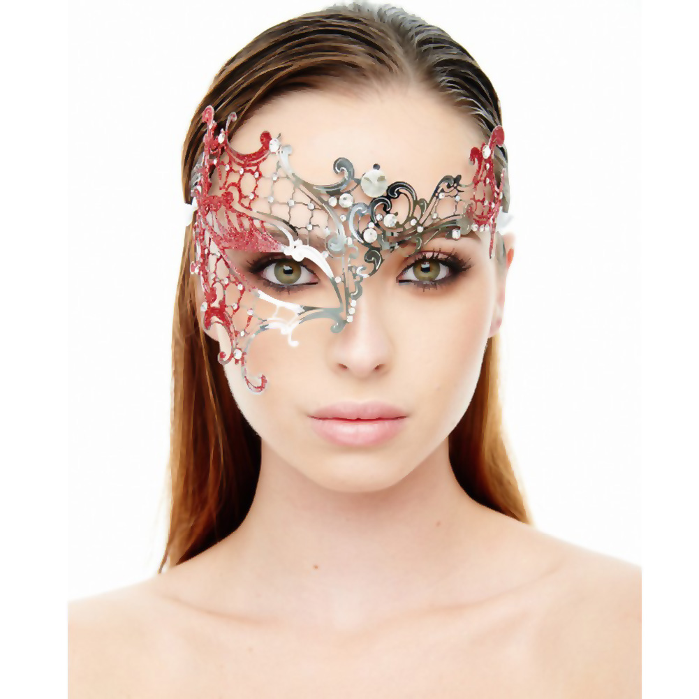 Kayso Venetian Half Mask Silver/ Red - View #1