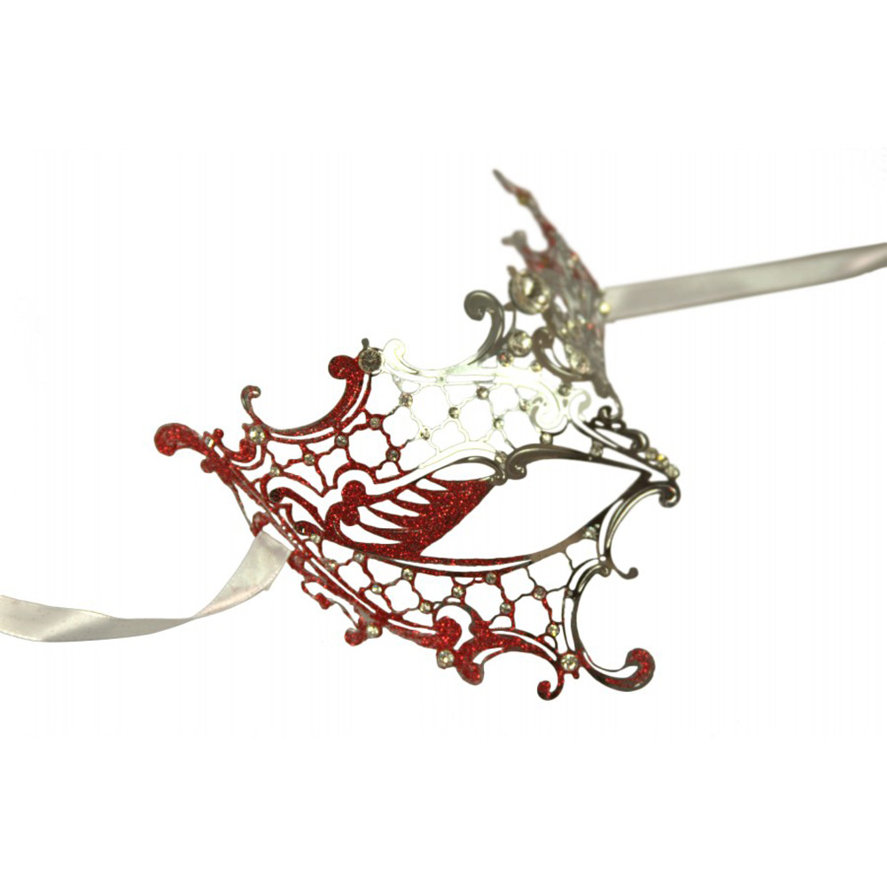 Kayso Venetian Half Mask Silver/ Red - View #3