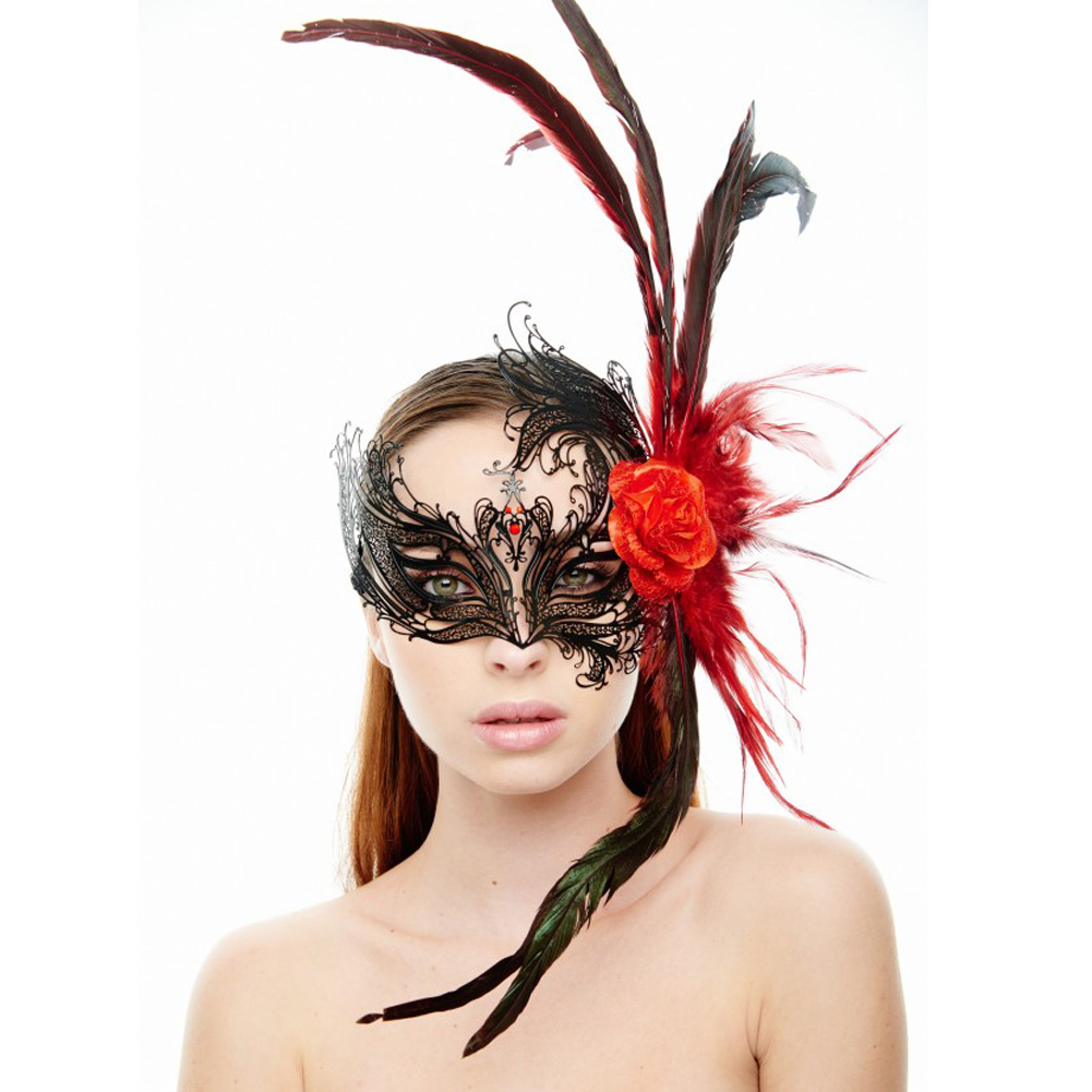 Kayso Venetian Red Rose Masquerade Mask Black - View #1