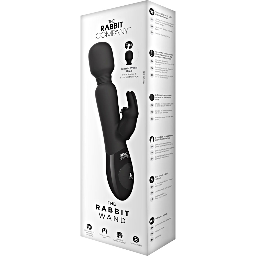 Rabbit Company Rechargeable Rabbit Wand Dual Vibrator Black - View #1