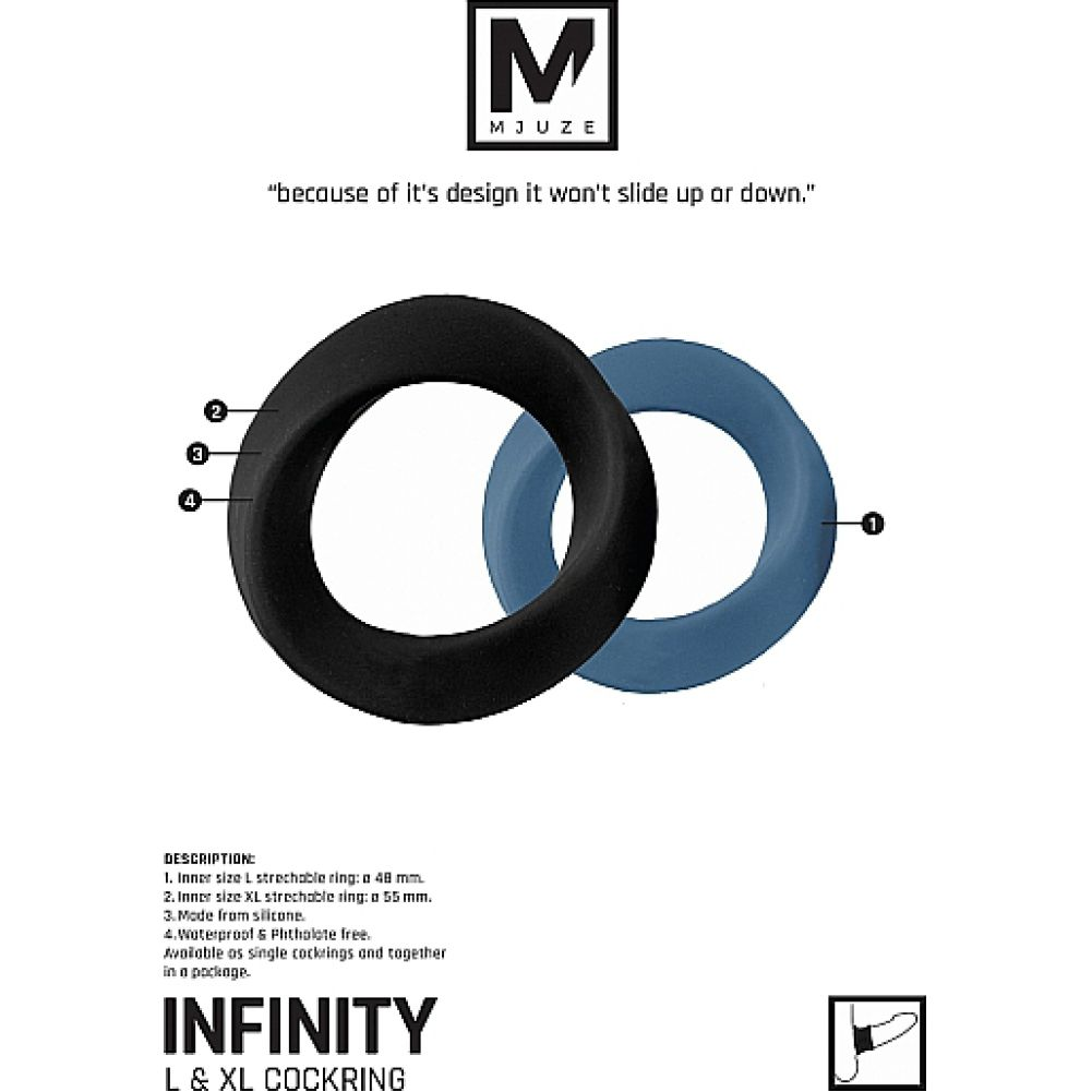 Shots Mjuze Infinity Cock Ring Set 2 Count Silky Black - View #4