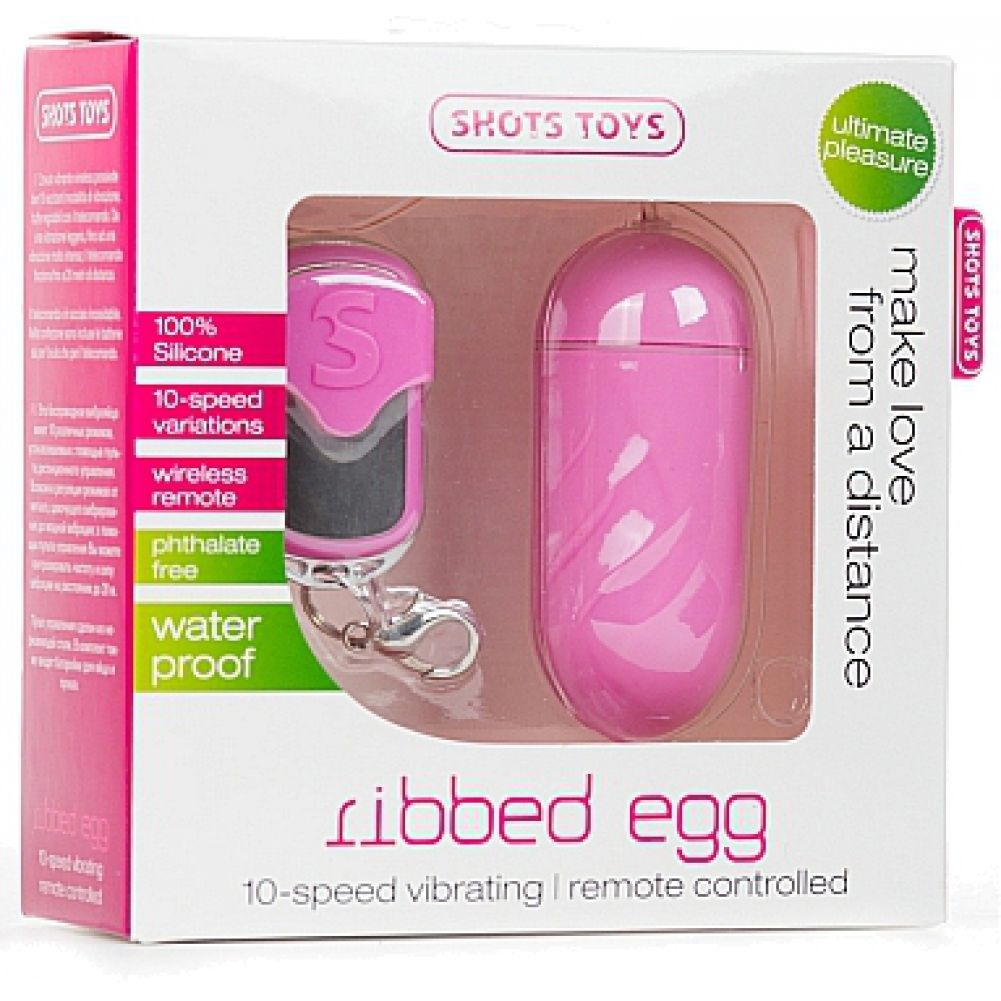 """Shots Ribbed Egg Vibrator with Wireless Remote 3"""" Rosy Pink - View #1"""